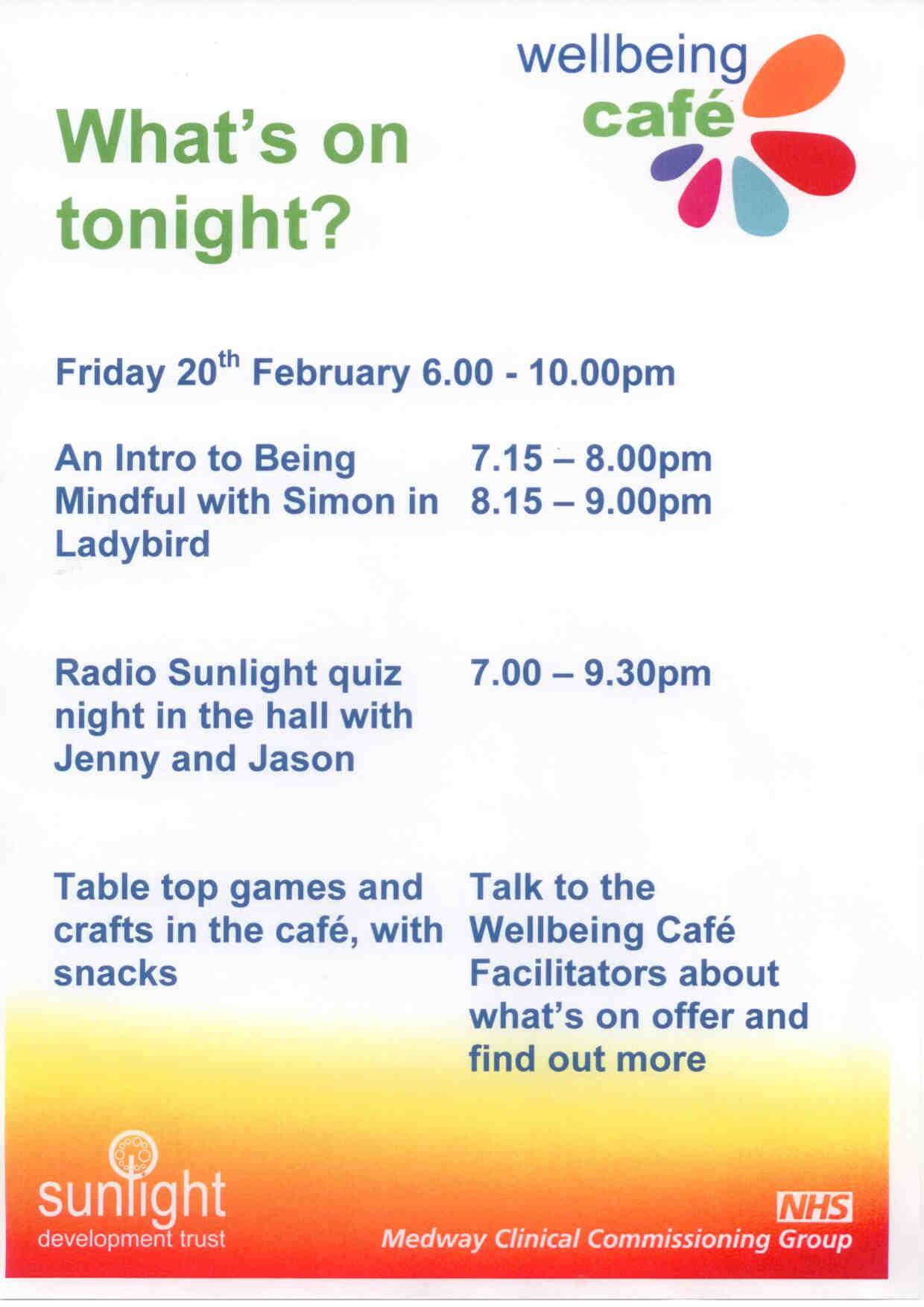 What's on at wellbeing cafe