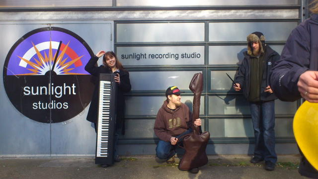 Outside the recording studio